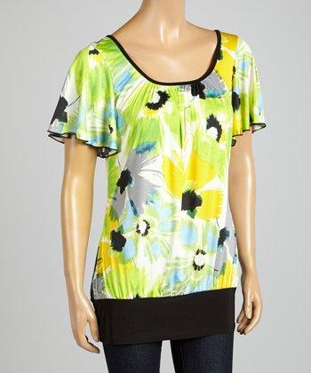 ARIA FASHION USA Yellow & Lime Floral Top