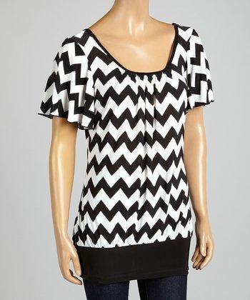 ARIA FASHION USA Black & White Scoop Neck Top