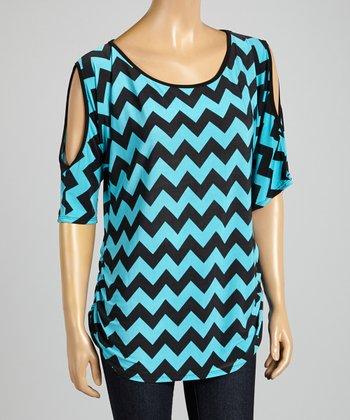 ARIA FASHION USA Mint & Black Zigzag Cutout Tunic