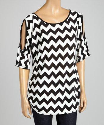 ARIA FASHION USA Black & White Zigzag Cutout Tunic
