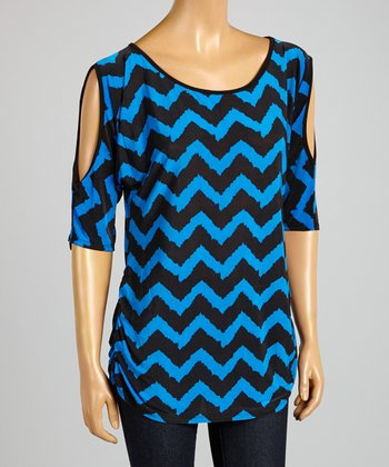 ARIA FASHION USA Royal Blue & Black Zigzag Cutout Tunic