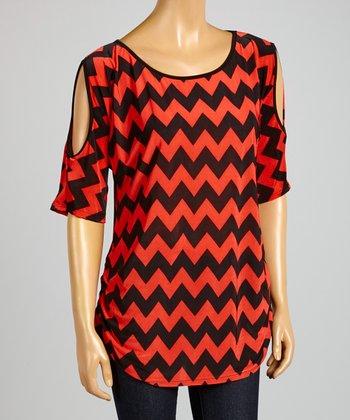 ARIA FASHION USA Coral & Black Zigzag Cutout Tunic