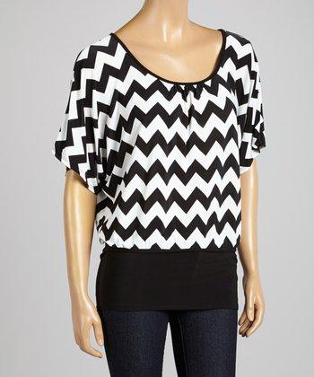ARIA FASHION USA Black & White Zigzag Dolman Top