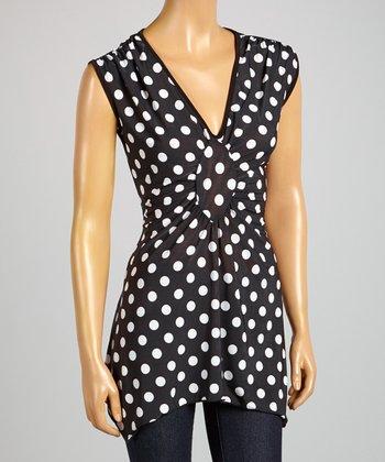 ARIA FASHION USA Black & White Polka Dot V-Neck Tunic