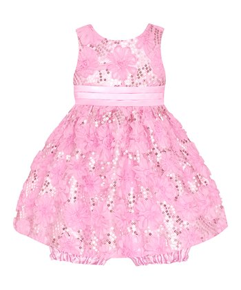 Ice Pink Sequin Floral Dress & Bloomers - Infant