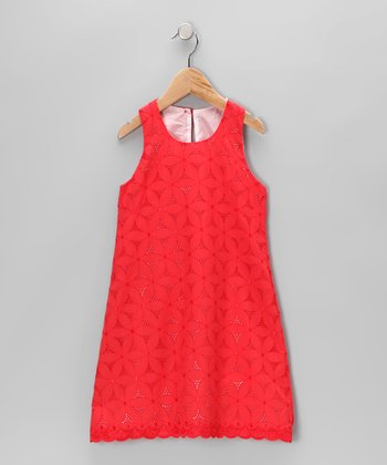 Red Eyelet Swing Dress - Toddler