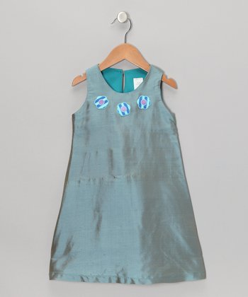 Steel Blue Flower Silk Dress - Toddler & Girls