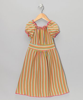 Rainbow Stripe Peasant Dress - Toddler & Girls