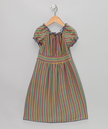 Blue & Yellow Stripe Peasant Dress - Toddler & Girls