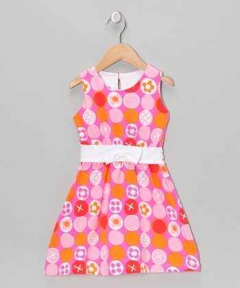 Pink & Orange Polka Dot Bow Dress - Toddler