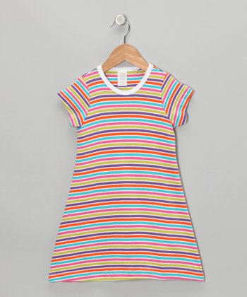 Rainbow Stripe Tee Dress - Toddler & Girls