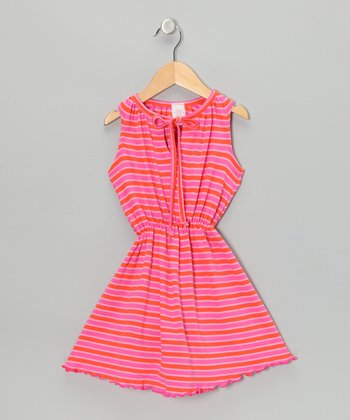 Pink & Orange Stripe Dress - Toddler