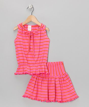 Pink & Orange Stripe Top & Skirt - Toddler & Girls