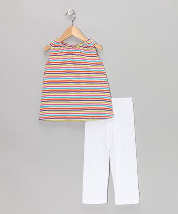 Rainbow Stripe Tank & White Leggings - Toddler & Girls