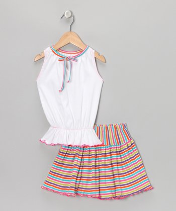 White Top & Rainbow Stripe Skirt - Toddler