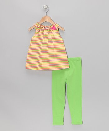 Yellow & Green Stripe Tank & Leggings - Toddler & Girls