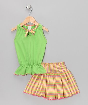 Yellow & Green Top & Stripe Skirt - Toddler
