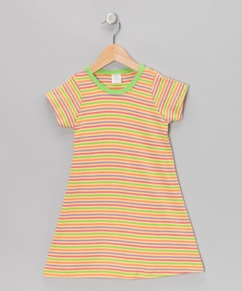 Yellow & Green Stripe Tee Dress - Toddler & Girls
