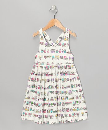 White Flower Pot Dress - Toddler & Girls