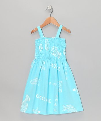Pale Blue Sea Life Shirred Sundress - Toddler & Girls