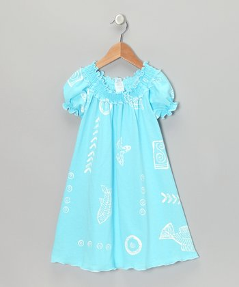 Pale Blue Sea Life Shirred Cap-Sleeve Dress - Toddler & Girls