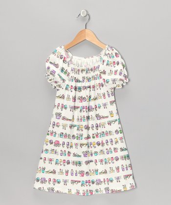 White Flower Pot Shirred Cap-Sleeve Dress - Toddler & Girls