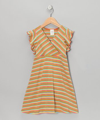 Rainbow Stripe Surplice Dress - Toddler & Girls