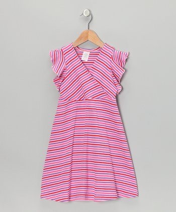 Pink & Purple Stripe Surplice Dress - Toddler & Girls