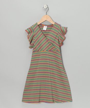 Blue & Yellow Stripe Surplice Dress - Toddler & Girls
