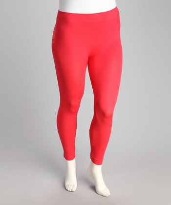 Coral Seamless Plus-Size Capri Leggings