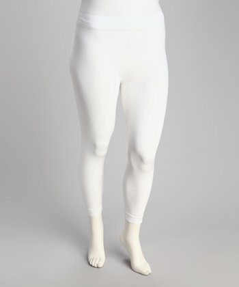 White Seamless Plus-Size Capri Leggings