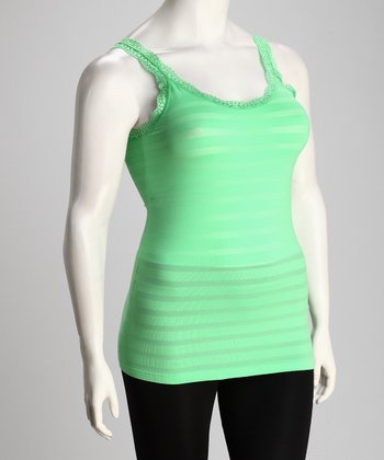 Green Stripe Plus-Size Tank