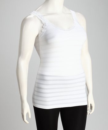 White Stripe Plus-Size Tank