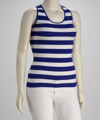Blue & White Stripe Plus-Size Racerback Tank