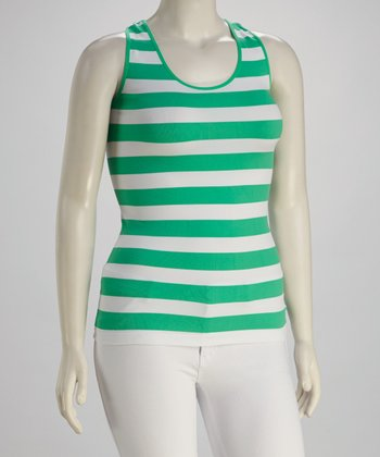 Green & White Plus-Size Racerback Tank