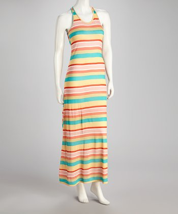 Orange & Blue Stripe Tank Maxi Dress