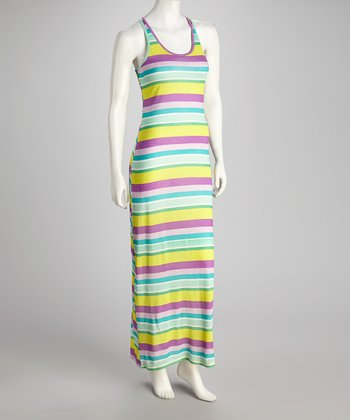 Purple & Yellow Stripe Tank Maxi Dress