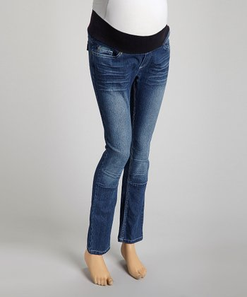 Medium Wash Flap-Pocket Under-Belly Maternity Skinny Jeans