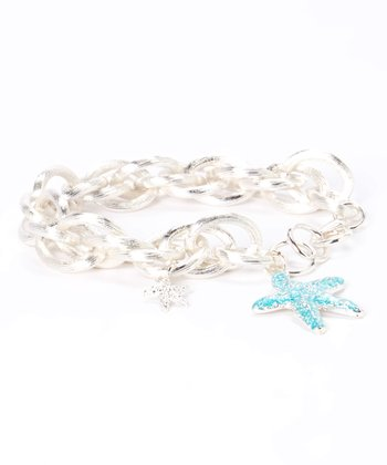 Silver & Turquoise Starfish Chain Link Bracelet