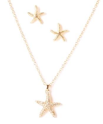 Gold Starfish Rhinestone Pendant Necklace & Stud Earrings