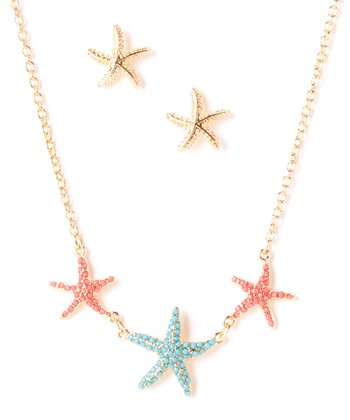 Turquoise & Coral Starfish Bib Necklace & Stud Earrings