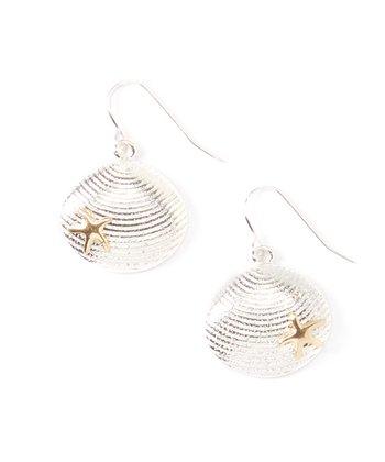 Silver & Gold Starfish Seashell Drop Earrings