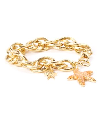 Gold & Coral Starfish Chain Link Bracelet