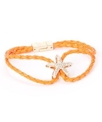 Orange Rope & Rhinestone Starfish Bracelet
