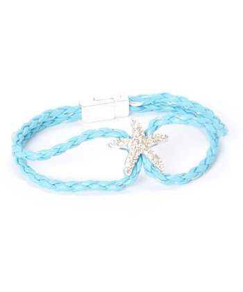 Aqua Rope & Rhinestone Starfish Bracelet