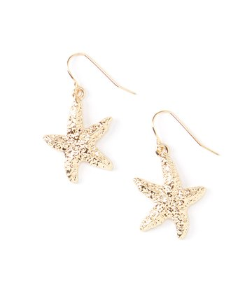 Gold Starfish Hammered Drop Earrings