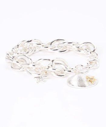 Silver Starfish Seashell Chain Link Bracelet