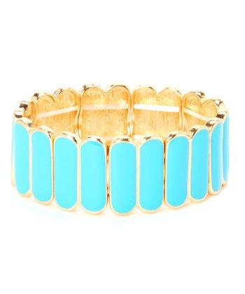 Turquoise & Gold Stretch Bracelet