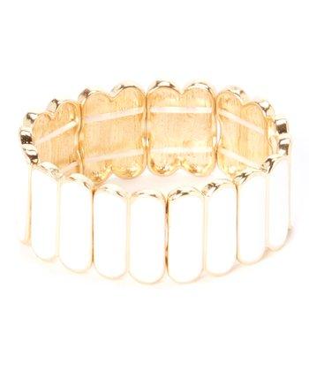 White & Gold Stretch Bracelet