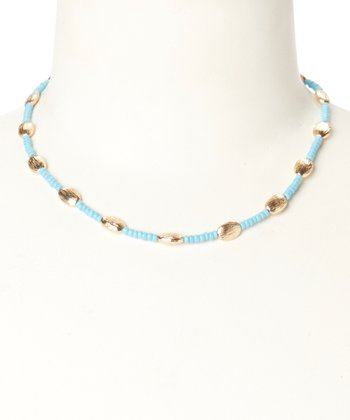 Gold & Turquoise Beaded Necklace